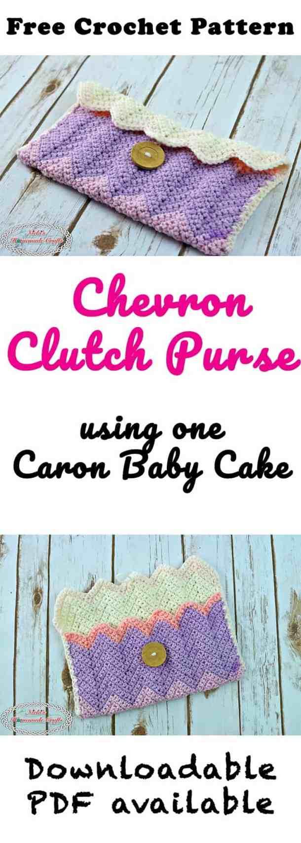 Chevron Clutch Purse - Free Crochet Pattern by Nicki's Homemade Crafts #crochet #chevronstitch #clutch #purse #freecrochetpattern #crochetpattern #caronbabycake #caroncake #caron