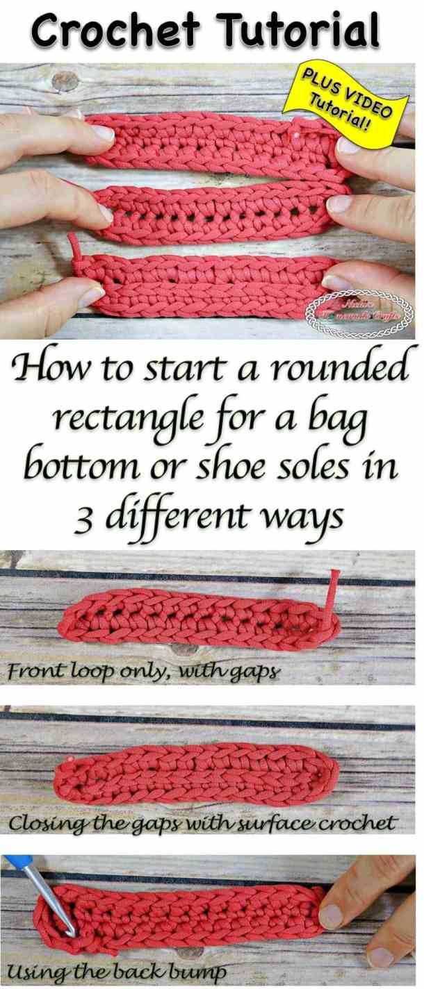 How to start a rounded rectangle for bag bottoms or shoe soles in 3 different ways - Crochet tutorial by Nicki's Homemade Crafts