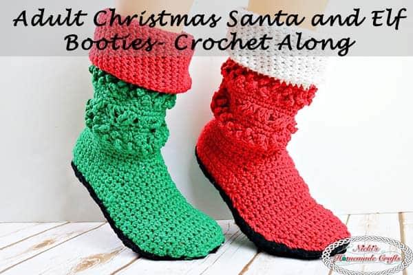 Adult Christmas Santa and Elf Booties Crochet Along by Nicki's Homemade Crafts #crochet #christmas #santa #elf #booties #boots