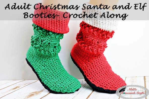 Adult Christmas Santa and Elf Booties Crochet Along (CAL) – Part 3