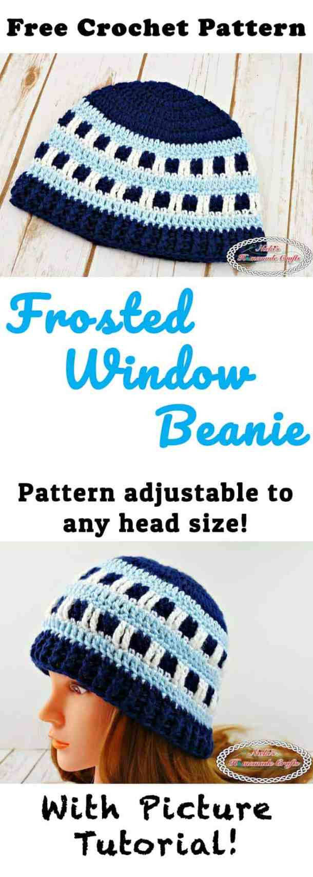 Frosted Window Beanie - Free Crochet Pattern by Nicki's Homemade Crafts #freecrochetpattern #crochet #frosted #frosty #window #beanie #hat #blue #head