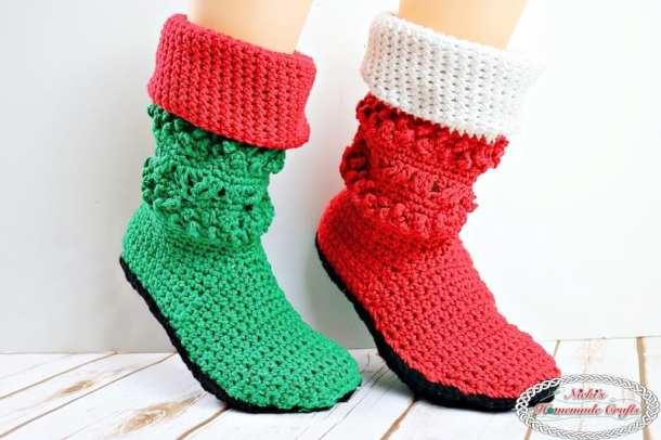 Adult Christmas Santa And Elf Booties Crochet Along Nickis