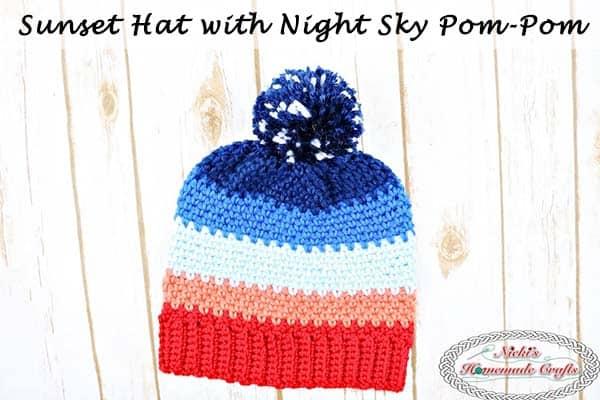 #Sunset #Hat with #Night #Sky #Pom-Pom a #FreeCrochetPattern by Nicki's Homemade Crafts #crochet #moss #stitch