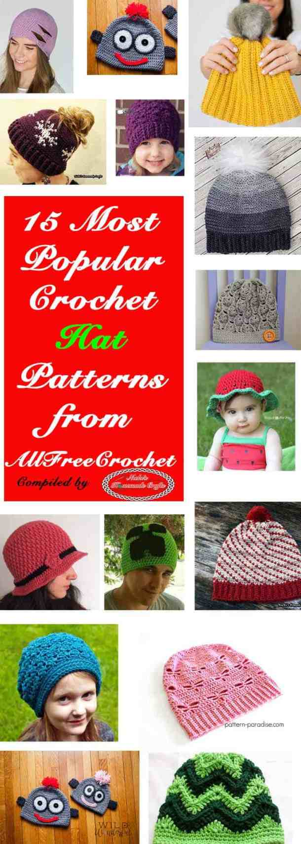 15 Most Popular Crochet Hat Patterns from AllFreeCrochet by Nicki's Homemade Crafts #crochet #patterns #free #allfreecrochet #hat #beanie #popular #best #collection