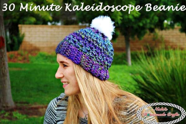 30 Minute Kaleidoscope Beanie - Free Crochet Pattern by Nicki's Homemade Crafts This beanie can be made with only one skein of Kaleiodscope yarn in 30 minutes. It is super easy and fast to make. Perfect even for a beginner. #crochet #freecrochetpattern #hat #beanie #pompom #30minutes #quick #easy #kaleidoscope