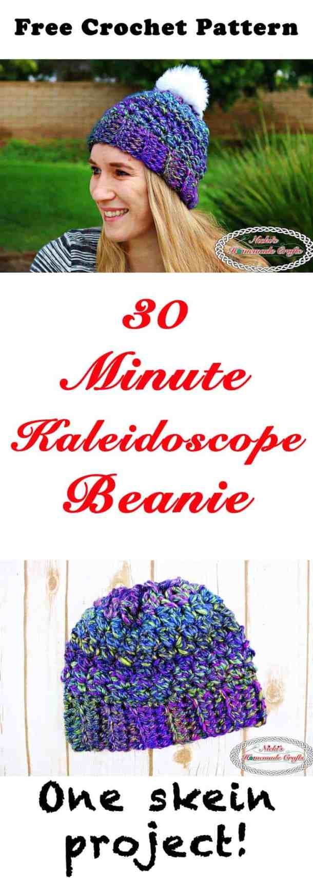 30 Minute Kaleidoscope Beanie - Free Crochet Pattern by Nicki's Homemade Crafts #crochet #freecrochetpattern #hat #beanie #pompom #30minutes #quick #easy #kaleidoscope