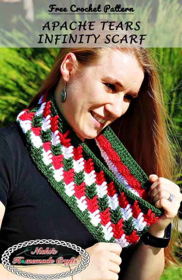 Apache Tears Infinity Scarf - Free Crochet Pattern by Nicki's Homemade Crafts This pattern is fast and easy to make and looks very elegant no matter when you wear it. With the Christmas colors one can use this scarf to spice up a dress easily. #crochet #crochetalong #knitpicks #freecrochetpattern #infinityscarf #apachetears