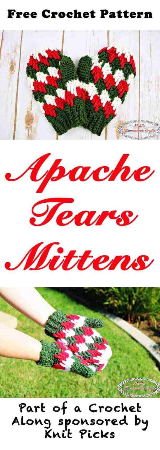 Apache Tears Mittens - Free Crochet Pattern - Crochet Along by Nicki's Homemade Crafts #crochet #freecrochetpattern #mittens #gloves #apachetears #crochetalong #knitpicks