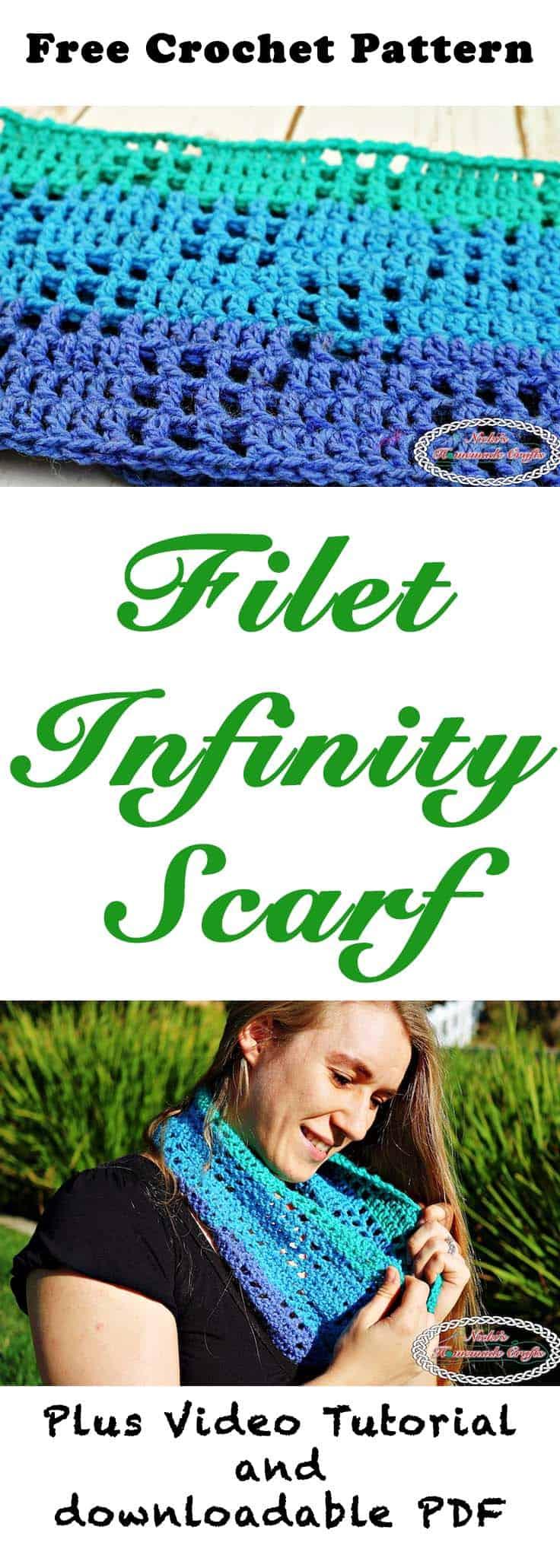 #Filet #Infinity #Scarf - #Free #Crochet #Pattern by Nicki's Homemade Crafts #freecrochetpattern #winter