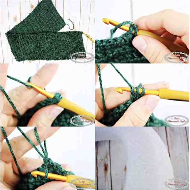 crocheting the loop stitch to make a wreath