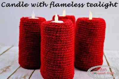 Candle with flameless tealight - Free Crochet Pattern by Nicki's Homemade Crafts #candle #freecrochetpattern #free #pattern #tealight #flameless #tutorial #video #howto #christmas #advent
