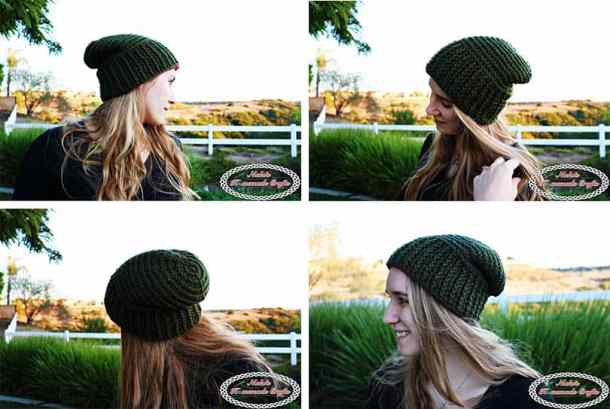 Reversible Textured Slouchy Beanie - Green Slouchy beanie that shows horizontal lines on top and vertical lines on the ribbing- Free Crochet Pattern -Nicki's Homemade Crafts #crochet #slouchy #free #pattern #red #green #textured #christmas #reversible #beanie #hat