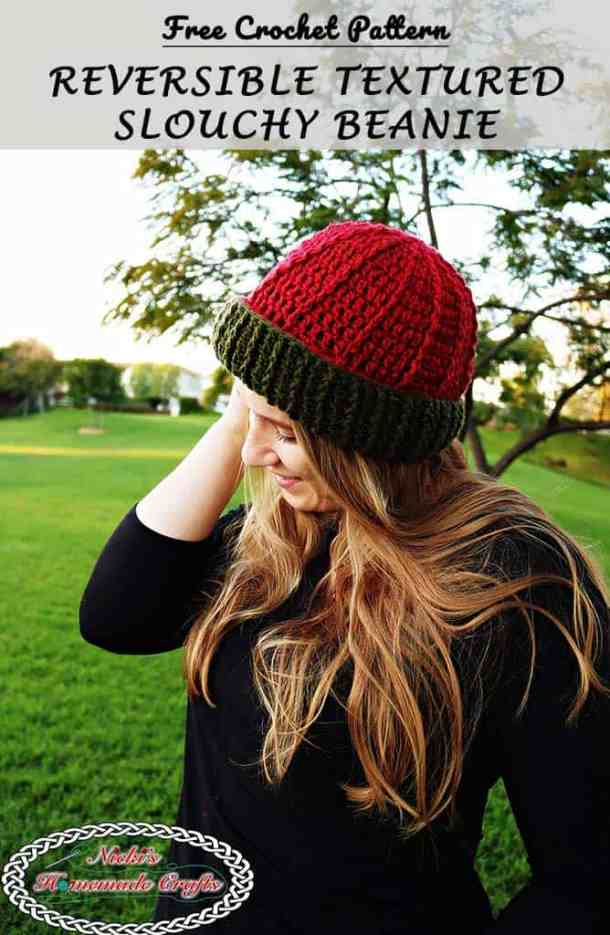 Reversible Textured Slouchy Beanie Free Crochet Pattern Nickis