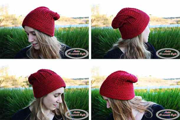Reversible Textured Slouchy Beanie - Red slouchy beanie showing vertical lines on top and horizontal lines on the ribbing - Free Crochet Pattern -Nicki's Homemade Crafts #crochet #slouchy #free #pattern #red #green #textured #christmas #reversible #beanie #hat