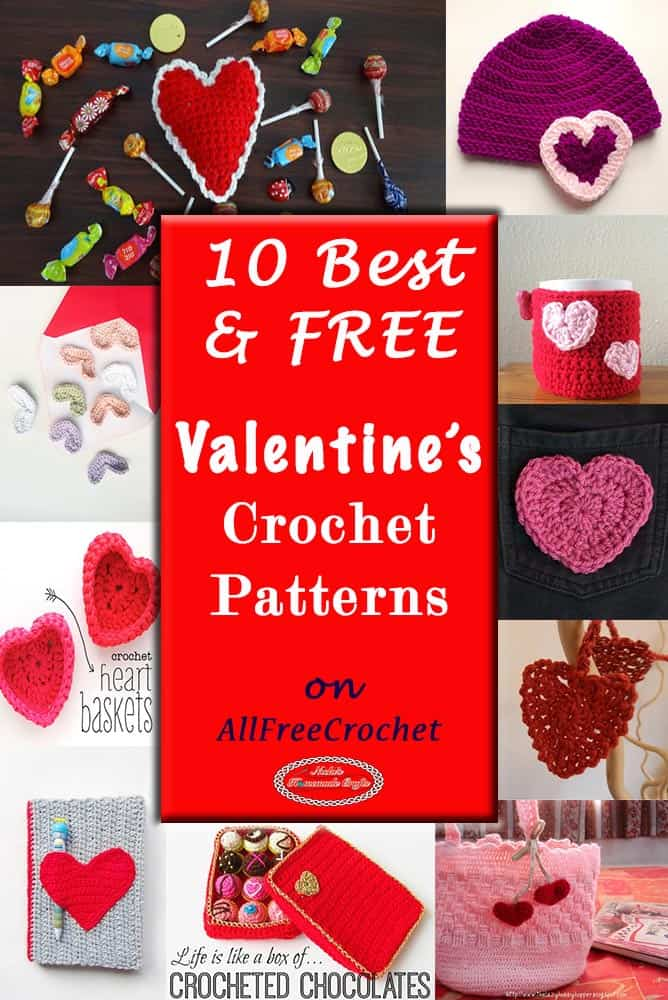 10 Best Free Valentine's Crochet Pattern on AllFreeCrochet by Nicki's Homemade Crafts #free #crochet #pattern #diyroomdecor #diy #room #decor #collection #Valentine #day #hearts #gifts #presents #quick #easy #AllFreeCrochet