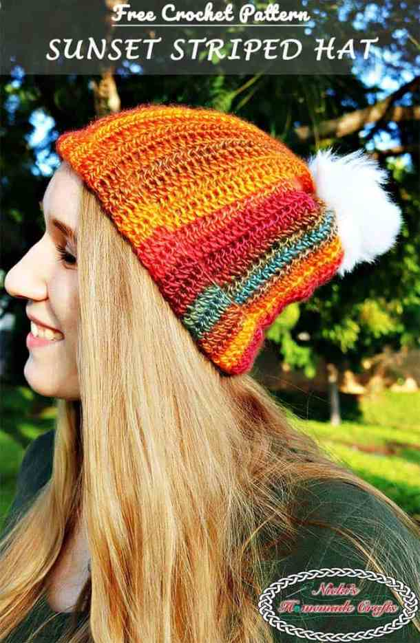 Sunset Striped Hat - Free Crochet Pattern by Nicki's Homemade Crafts #striped #crochet #hat #redheart #unforgettable #yarn