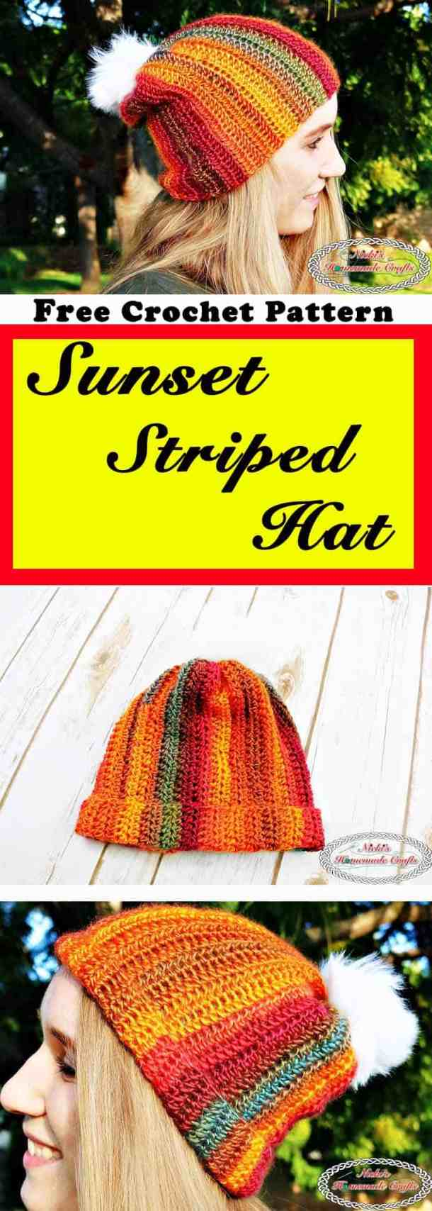 Sunset Striped Hat - Free Crochet Pattern by Nicki's Homemade Crafts #striped #crochet #hat #redheart #unforgetable #yarn