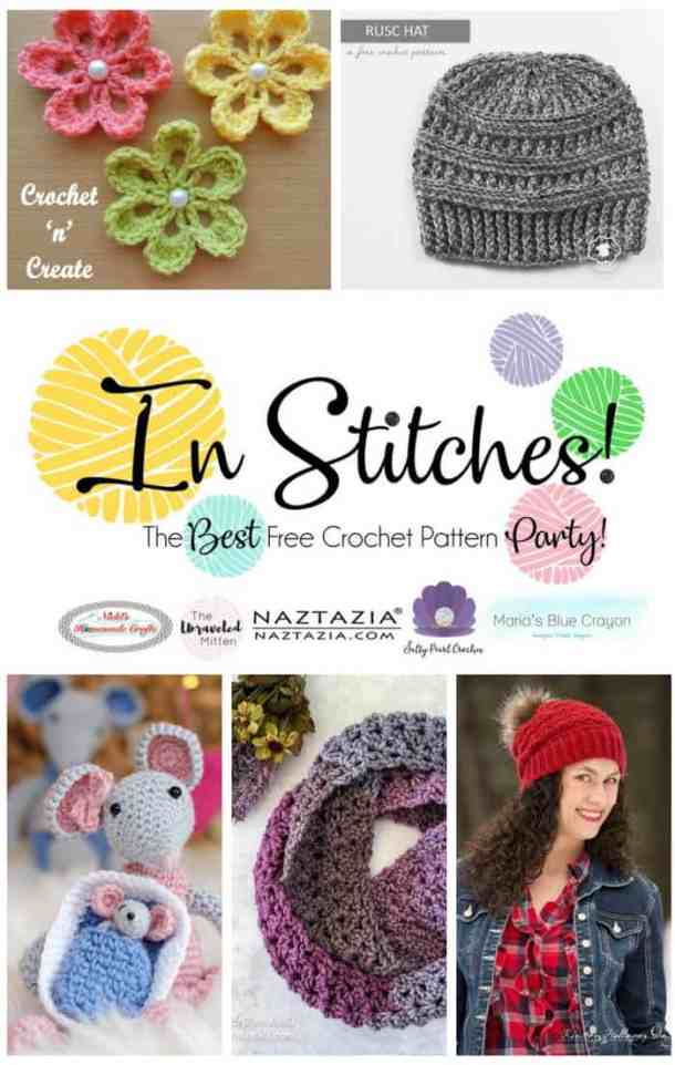 In Stitches - The Best Free Crochet Link Party - Top 5 of Week 1 featuring scarves, hats, flowers and mice to be used as toys.