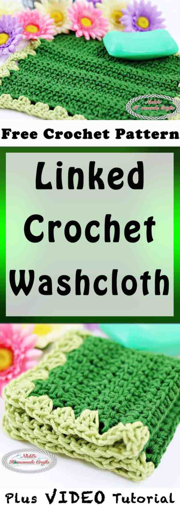 Linked Crochet Washcloth which is a Free Crochet Pattern by Nicki's Homemade Crafts; also showing flowers and bathroom soap.