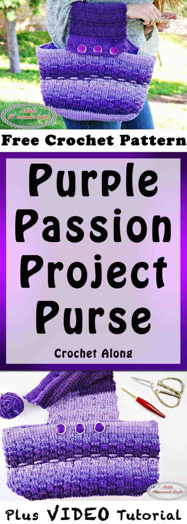 Purple Passion Project Purse is a Free Crochet Pattern and part of a Crochet Along by Nicki's Homemade Crafts