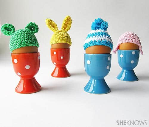 Different kinds of Easter Egg Beanies to keep cooked eggs warm.