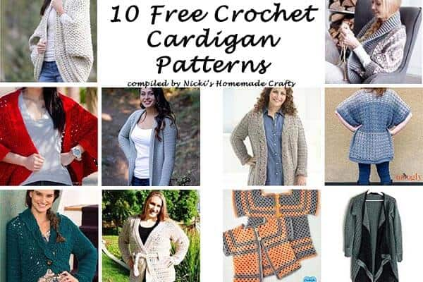 This collection includes 10 Free Crochet Cardigan Patterns all from AllFreeCrochet compiled by Nicki's Homemade Crafts - Crochet Cardigan, Crochet Jacket, Crochet Sweater, Crochet Wrap, Crochet Shawl