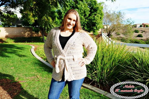 Beige Belted Cardigan which is part of a collection including 10 Free Crochet Cardigan Patterns all from AllFreeCrochet compiled by Nicki's Homemade Crafts - Crochet Cardigan, Crochet Jacket, Crochet Sweater, Crochet Wrap, Crochet Shawl