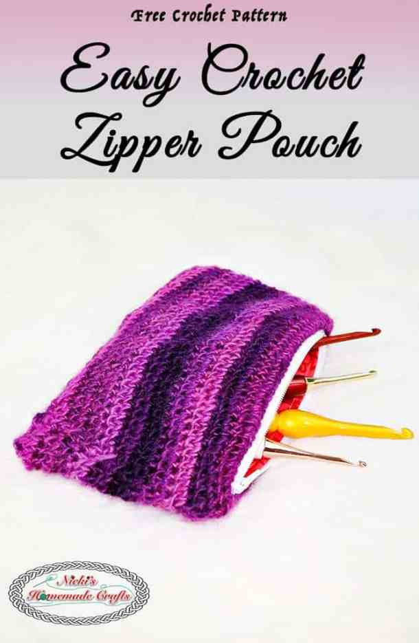 Easy Crochet Zipper Pouch Free Crochet Pattern Nickis Homemade
