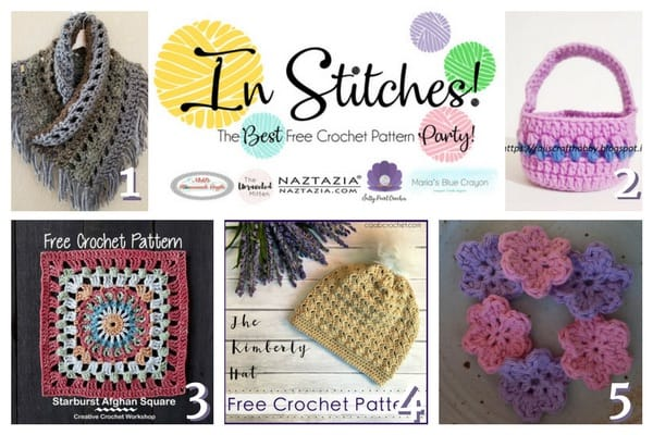 In Stitches - The Best Free Crochet Link Party featuring free crochet patterns which are a hat, a easter basket, flowers, a cowl and a granny square.