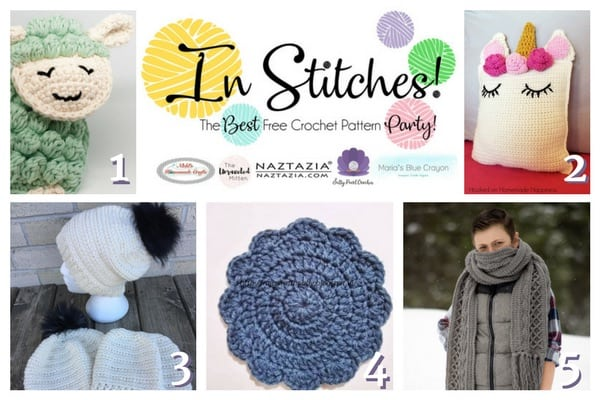 In Stitches - The Best Free Crochet Link Party 5 - The winners free crochet patterns featuring a sheep, unicorn, messy bun hat, circle and a scarf