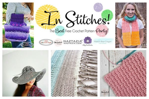In Stitches - The Best Free Crochet Link Party 5 - The hosts free crochet patterns featuring a purse, scarf, sun hat, rug and a tutorial