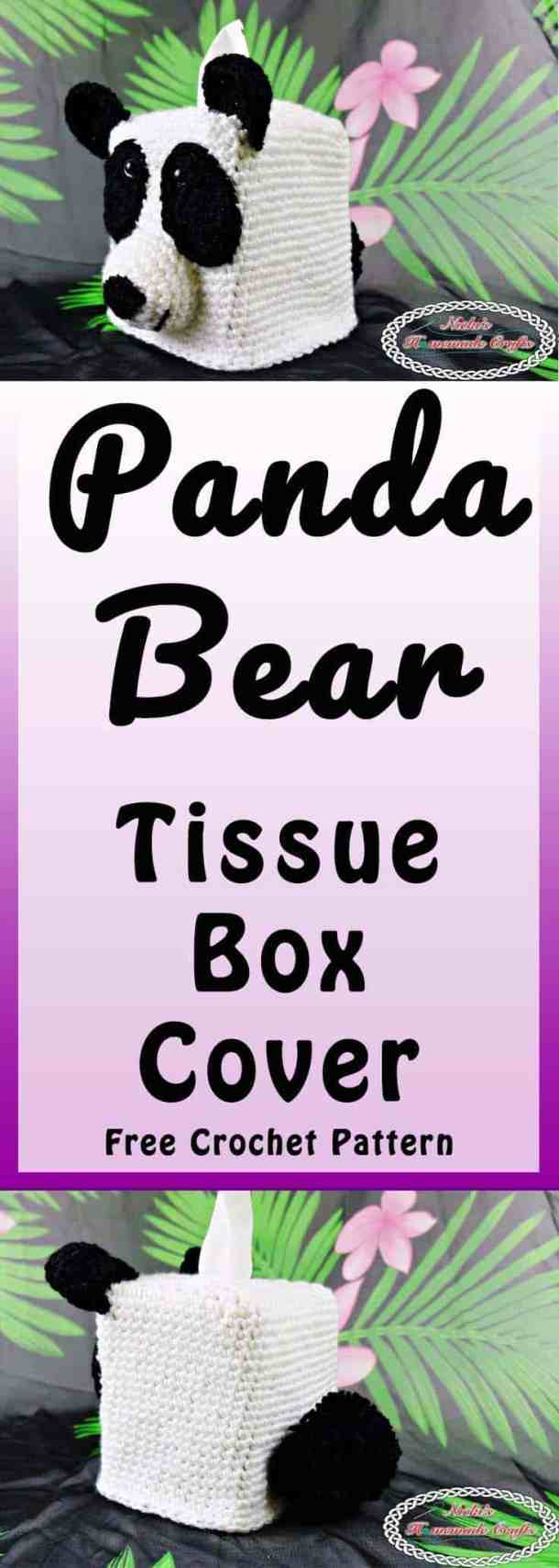 Panda Bear Tissue Box Cover which is a Free Crochet Pattern by Nicki's Homemade Crafts featuring the front, side and back of the tissue box cover