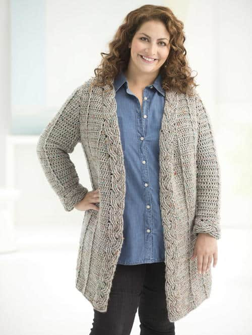 Braided Grey Cardigan which is part of a collection including 10 Free Crochet Cardigan Patterns all from AllFreeCrochet compiled by Nicki's Homemade Crafts - Crochet Cardigan, Crochet Jacket, Crochet Sweater, Crochet Wrap, Crochet Shawl