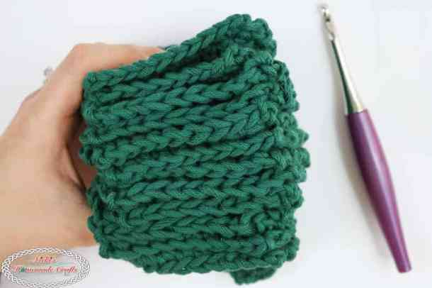 Mystery Crochet Along part 2 green squares stack in hand