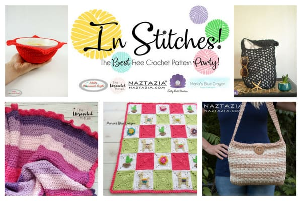In Stitches Link up Crochet Party featuring the hosts free crochet patterns as blankets, bowl cozy and bags