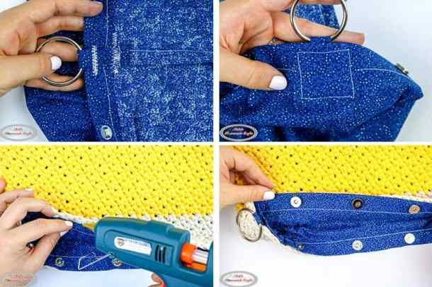 Simple Summer Crochet Bag hot glue lining to bag