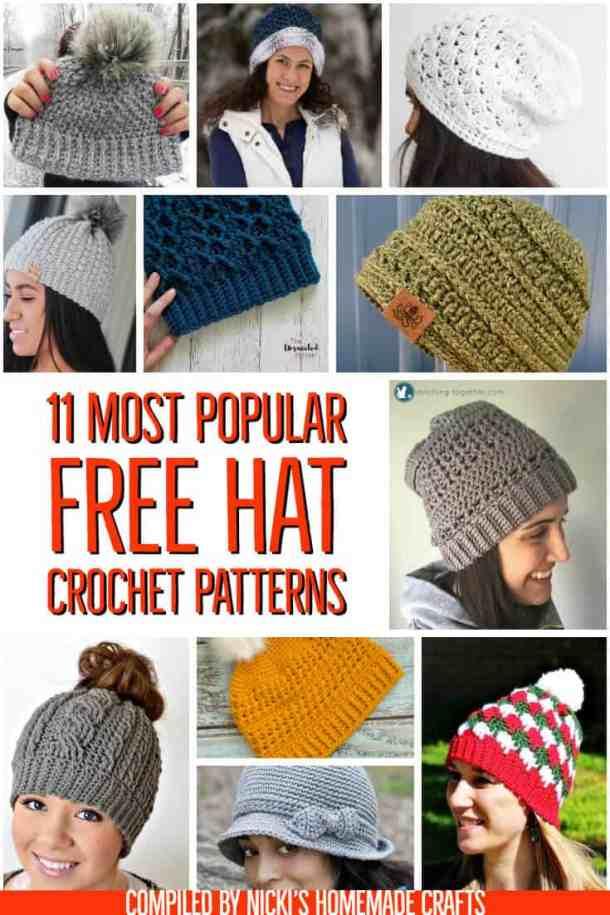 11 most popular hats free crochet patterns