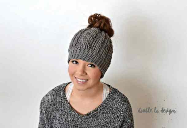 cabled messy bun - popular hat pattern crochet