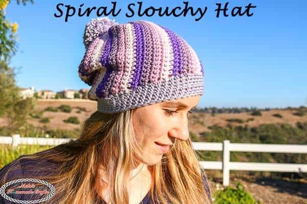 Spiral Slouchy Hat with Pom pom