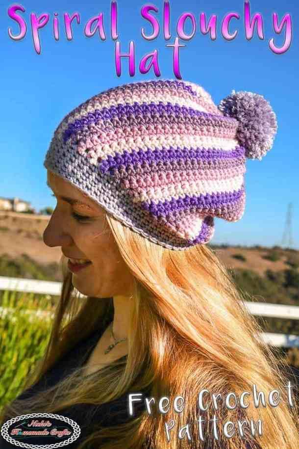 Spiral Slouchy Hat using Caron X Pantone yarn
