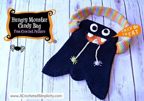 free crochet Halloween monster treat bag pattern