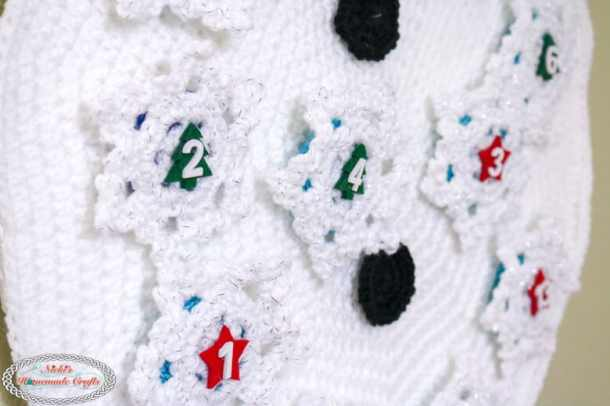 Crochet Snowflakes on Snowman Advent Calendar