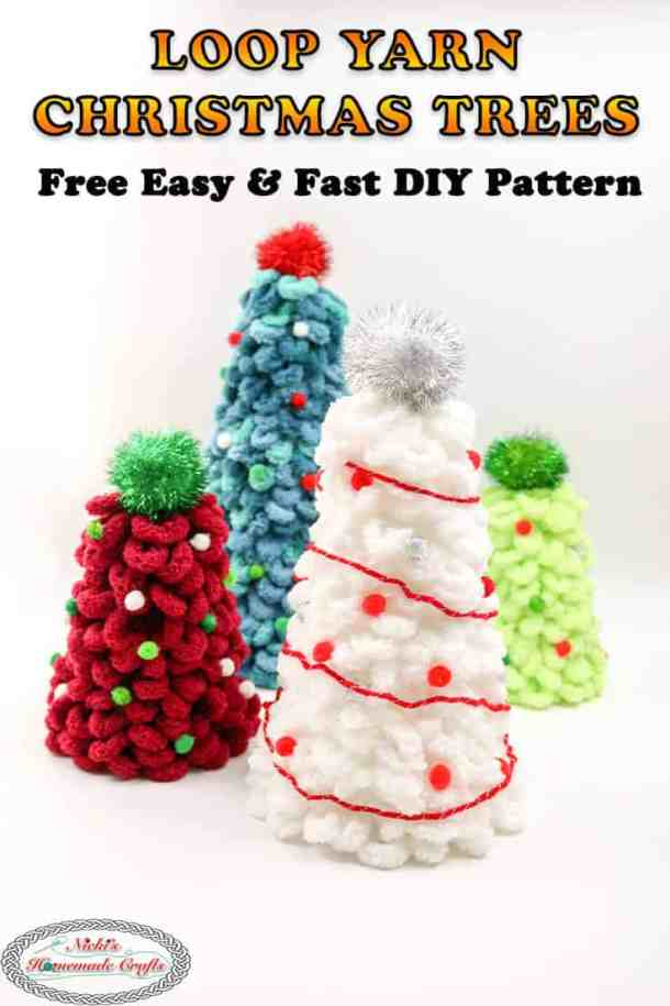 Christmas Trees with Loop Yarn , Pom-poms and foam cones