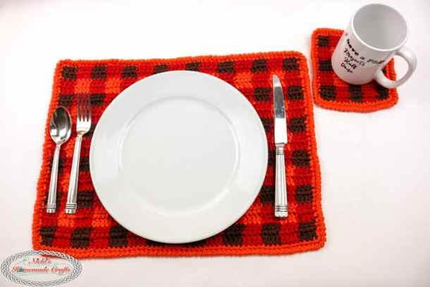 Crochet Plaid Placemat and Coaster Set