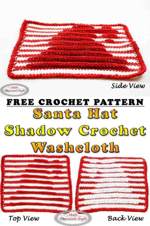 Santa Hat Washcloth Illusion Crochet - Free Pattern