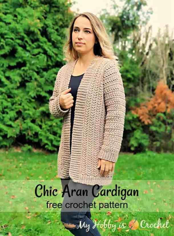 Chic Aran Crochet Cardigan