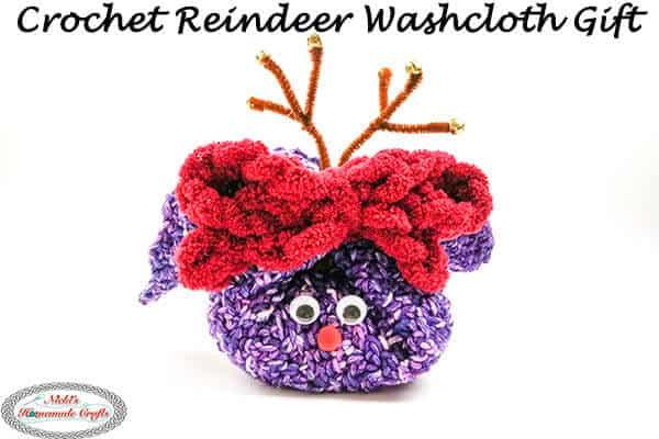 Crochet Reindeer Washcloth Gift