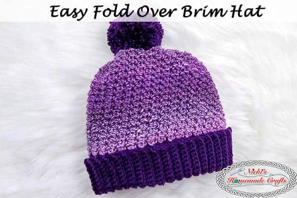 How To Crochet An Easy Fold Over Brim Hat With Pom Pom