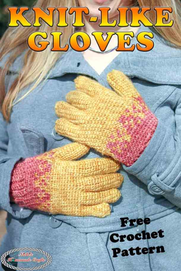 Crochet Gloves with knit-like texture - free pattern