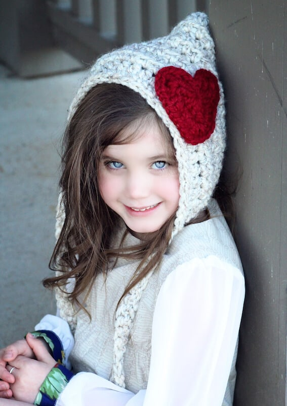 Pixie Hat with Heart - Crochet Pattern - Countdown to valentine's Day